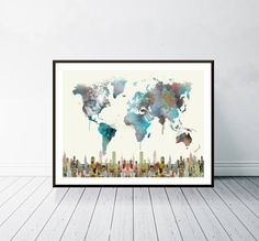 world travel map watercolor. map of the world. world