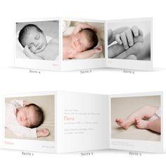Geburtskarte Leporello Portfolio by Marianne Fournigault für Rosemood.de #Babykarte #Foto #zickzack #Leporello