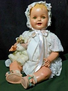 "28"" Composition Happy Baby Mama Doll- Big Green Eyes!! 