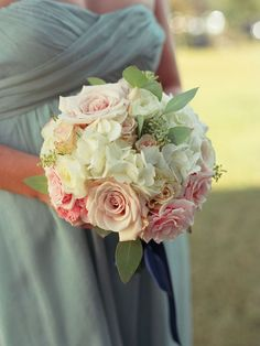 For Bridesmaids, but a little messier. I don't want all of Jennifers bridesmaids to have the exact same bouquet, a little different. love the white and blush