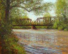 Raritan River Crossing - Landscape Paintings by Joe Kazimierczyk