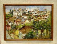 """Haroldo Mattos, óleo sobre tela """"Ouro Preto"""" datado de 1957 medindo 53 cm por 71 cm."""