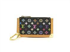 Louis Vuitton Authentic Monogram MULTICOLORE Noir Key Chain Coin Purse Wallet LV #LouisVuitton #CoinPurse