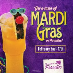 Get a taste of Mardi Gras in Paradise February 2nd-17th with our limited time only Mardi Gras Masquerade made with sweet papaya nectar, sour mix and 4 premium rums, plus free beads with every cocktail! http://www.cheeseburgerinparadise.com/promotions/mardigras
