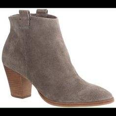 NEW JCREW Eaton suede ankle boots 8 Closet staple ankle boots-NIB $228 JCREW suede ankle boots sz 8 in a darker taupe. Never worn, only wear from store try-ons-purchased by myself from JCREW-awesome boots, just thinning out closet after baby J. Crew Shoes Ankle Boots & Booties