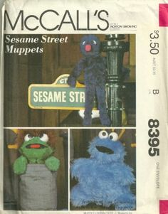 1980s McCalls 8395 Sesame Street Muppets Sewing Pattern Grover Oscar Cookie Monster by Pattern Gate