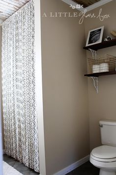 Floor To Ceiling Shower Curtain U0026 Shelves Above The Toilet.....Entire