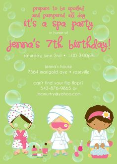Spa Party Birthday - Custom DIGITAL Birthday Party Invitation Invite for ANY AGE by Conveying You Designs | Catch My Party