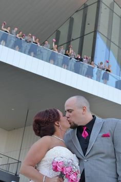 bride and groom with wedding party above on third floor terrace Three Floor, Terrace, Third, Groom, Weddings, Bride, Party, Balcony, Wedding Bride