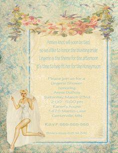 35fa0fb23c098 Bridal Shower Invitation Pin Up Bride Digital by lovesoldstuff