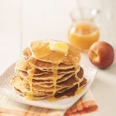 Peach Pancakes with Butter Sauce (I never make the sauce/corn syrup. But this recipe is fantastic)