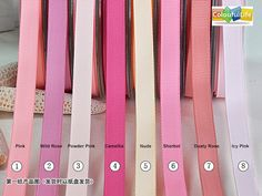 1. Pink 2. Wild Rose 3. Powder Pink 4. Camellia 5. Nude 6. Sherbet 7. Dusty Rose 8. Icy Pink