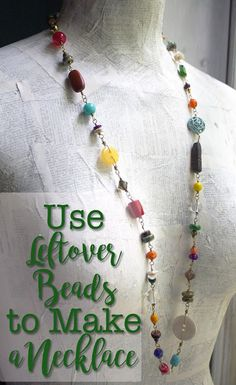 Use Leftover Beads to Make a Necklace ~CraftyHope diy jewelry making Use Leftover Beads to Make a Necklace Diy Schmuck, Schmuck Design, Diy Collier, Jewelry Making Tutorials, Jewellery Making, Jewellery Shops, Beginner Jewelry Making, Jewellery Earrings, Bead Jewelry