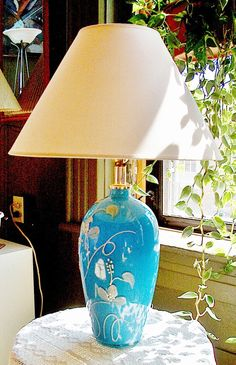 Vintage Turquoise Blue Lamp with White Floral Swirl Design