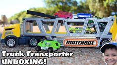 TOY TRUCK Videos For Children l Matchbox Construction Transporter UNBOXI...
