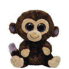 "Ty Beanie Boo Coconut Brown Monkey 2014 W Purple Backpack Clip 3/"" NWT"