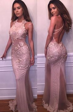 Sexy Mermaid Prom Dresses Halter Sleeveless Lace Appliques Backless Evening Gowns