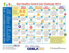 Here's your July Get Healthy Challenge Calendar! In addition to daily nutrition and fitness challenges, this month we'll be focusing on walking. Make a goal to walk 3-4 days each week. Let's go!