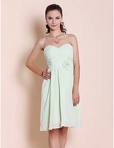 Bridesmaid Dress Knee Length Chiffon Sheath Column Sweethear... – USD $ 59.99