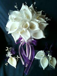 3 PC CREAM CALLA LILIES WEDDING BOUQUET BRIDAL FLOWERS ( choose color Ribbon ) | eBay