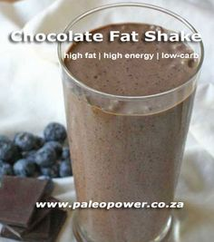 Tim Noakes Chocolate Fat Shake Recipe - This fat chocolate shake will act as an appetite suppressant whilst keeping your energy levels high Banting Desserts, Banting Recipes, Low Carb Desserts, Low Carb Recipes, Real Food Recipes, Free Recipes, Banting Breakfast, Keto Regime, Banting Diet