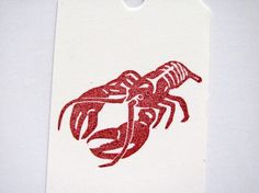 Lobster Hand Carved Stamp by TCWitchcraftFactory on Etsy, $7.50