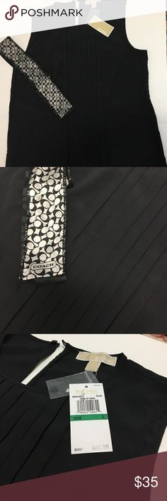💐NWT Michael Kors Black Pleaded Top💐 Beautiful pleaded Top by Michael Kors Great to wear underneath a blazer for a dress you look or can dress down and where by itself coach scarf sold separately Michael Kors Tops Blouses