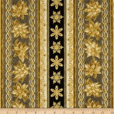 Holiday Flourish Metallic Stripe Antique Black from @fabricdotcom  Designed by Peggy Toole for Robert Kaufman, this cotton print fabric is perfect for quilting, apparel and home decor accents. Colors include cream, black and gold. Features gold metallic accents throughout. The stripe is parallel to the selvedge as pictured.