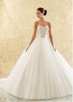 Alluring Organza & Satin Strapless Neckline Natural Waistline Ball Gown Wedding Dressing
