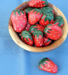 ROCK ART Hand Painted Red Strawberries, Interactive 3D Acrylic Art on Etsy…