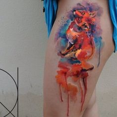 Beautiful Watercolor Fox Tattoo | Venice Tattoo Art Designs