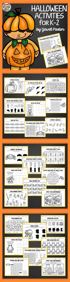 Halloween Activities  HALLOWEEN ACTIVITIES FOR K TO 2   This 50-page packet is composed of exciting activities for fall or autumn. You will get:  1 x Hidden Message 6 x Silhouette Match (2 versions) 3 x Mixed Pictures 3 x Draw and Color 3 x Mazes 3 x Odd One Out 2 x Word Search Puzzles 2 x Picture Match 2 x Spot the Difference