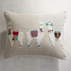 Llama Party Lumbar Pillow Natural