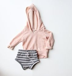 dark gray stripe french terry shorties by childHOODS on Etsy, $30.00