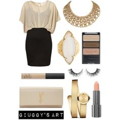 Gold day by giuggysart on Polyvore featuring polyvore, moda, style, Yves Saint Laurent, Movado, HEATHER BENJAMIN, Wet n Wild, NARS Cosmetics and Easy Spirit