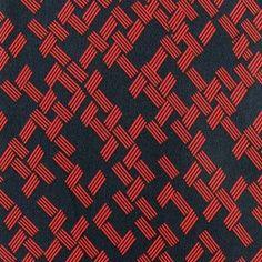 Tissu crêpe Géométric - marine/rouge x 10cm