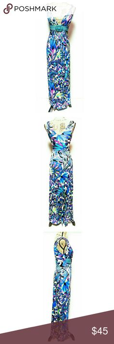 """Sky Maxi Dress Stunning maxi dress by Sky. Size XS. Few minor snags. See pics. Nothing that is noticeable when worn.  This dress is awesome. Approximate measurements laying flat: length 57"""", bust 14.5"""", waist 12"""". Sky Dresses Maxi"""