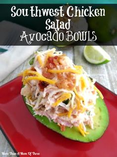 Southwest Chicken Salad Avocado Bowls - Packed with flavor, I usually just serve these with yellow rice and beans on the side. Great summery dish!