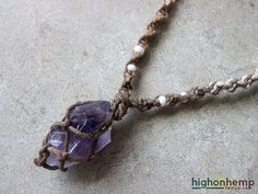 Raw Amethyst Necklace Healing Jewelry, Natural Hemp Necklace