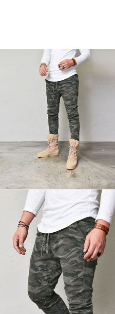 Stone Camo Slim Banding-Pants 255 by Guylook.com  Great quality stone washed cottonblends with great flexibility Elastic banding waist with drawcord Flattering slim cut Zippered back pocket