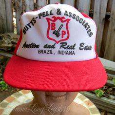 Vtg Butts-Pell & Assoc Real Estate Auction Snapback Hat Cap Brazil Indiana USA #ParkeCo #BaseballCap