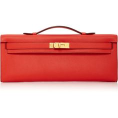 Heritage Auctions Special Collections Hermès Rouge Tomate Swift... (€11.040) ❤ liked on Polyvore featuring bags, handbags, red, hermes handbags, red purse, top handle leather handbags, hermès and real leather handbags