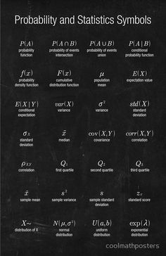 """Probability and Statistics Symbols"" Posters by coolmathposters Statistics Symbols, Statistics Notes, Statistics Cheat Sheet, Statistics Humor, Statistics Help, Physics Formulas, Physics And Mathematics, Science Des Données, What Is Data Science"