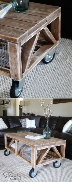 Sleek and Stylish DIY Coffee Tables • Lots of Ideas and Tutorials! Including from 'shanty 2 chic', this wonderful Truss Style Coffee Table from ana white plans - great tutorial.