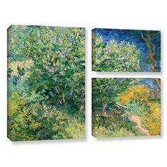Lilacs by Vincent Van Gogh 3 Piece Gallery-Wrapped Canvas Flag Set