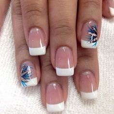 french nails with design on ring finger - Google Search