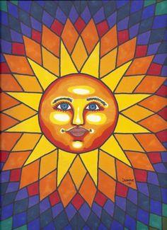 Rainbow Celestial Sun Face print by dianaswonderworks on Etsy Sun Moon Stars, Sun And Stars, Comic Cat, Sun Drawing, Good Day Sunshine, Hello Sunshine, Sun Painting, Mandalas Drawing, Sun Designs