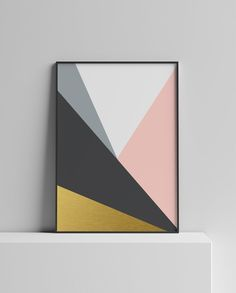 image 0 Printable Art, Printables, Geometric Poster, Block Wall, Office Wall Art, International Paper Sizes, Scandinavian Home, Abstract Wall Art, Pink Color