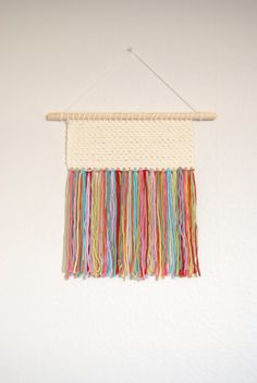 Inspiration for DIY - Crochet Woven Wall Hanging Textile Wall Hanging by BloomingAlice Weaving Projects, Weaving Art, Loom Weaving, Weaving Textiles, Knitting Projects, Crochet Projects, Hand Weaving, Crochet Art, Crochet Home