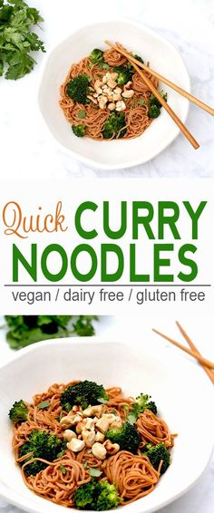 Quick Curry Noodles | Vegan, Dairy Free, Gluten Free | These Quick Curry Noodles make a quick and tasty meal. | From @V_Nutrition | www.vnutritionandwellness.com
